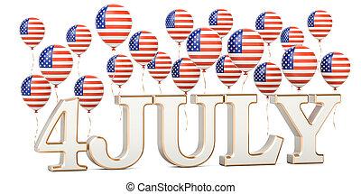 unabhängigkeit- tag, von, us., usa, patriotisch, luftballone, und, inschrift, 4, juli, 3d, übertragung