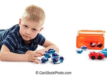 unacceptable, jouer, concentré, capsules, lavage, jouets, ...