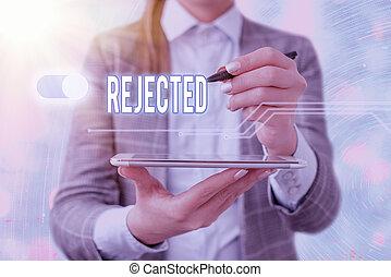 unacceptable, texte, rejected., refuser, congédier, concept...
