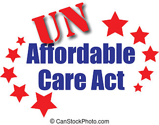 The affordable care act words with UN in a stencil stamp illustration