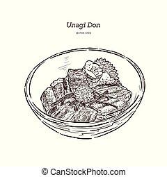 Unagi Donburi. Japanese cuisine, grilled eel with sweet sauce . Hand draw sketch vector.