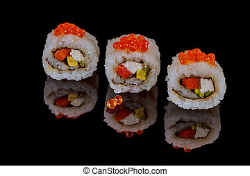 unagi rolls spicy roru with eel on a black background