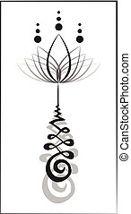 An unalome symbol with lotus.
