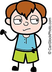 Unamused Teen Boy Cartoon