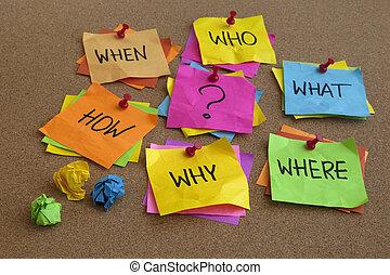 unanswered, fragen, -, brainstorming, begriff
