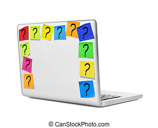 Unanswered questions - Laptop with question marks on...