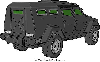 Unarmored army vehicle vector or color illustration