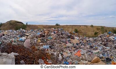 unauthorized dump in a ravine. Slow motion. - The camera...