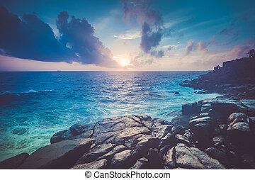unawatuna., magnifico, scenery., oceano tramonto