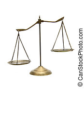 unbalance of golden brass scales of justice on white