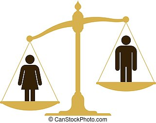 Unbalanced scale with a man woman - Unbalanced old fashioned...
