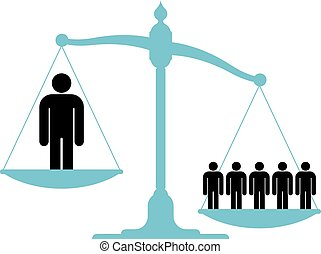 Unbalanced scale with a single man and a group -...