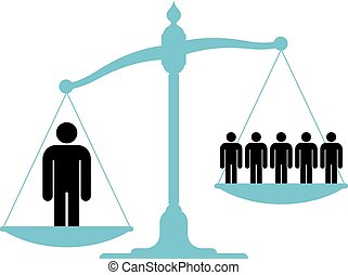 Illustration of an unbalanced vintage scale with a single man and a group of people on each of the pans showing the value of teamwork, cooperation and unification