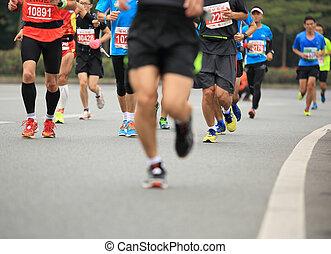 unbekannt, marathon, athleten, beine