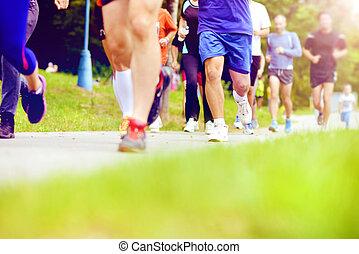 unbekannt, marathon, rennfahrer, rennender