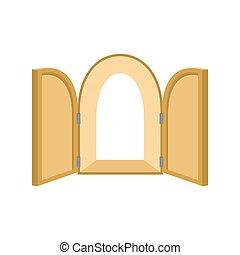 unblock, ドア, ドア, isolated., 木, 背景, paradise., 開いた, 白, シャッター