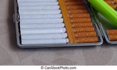 unbranded cigarette pack package, open tobacco cigarettes,