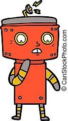 uncertain cartoon robot