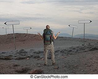 Uncertain explorer is lost in a desert