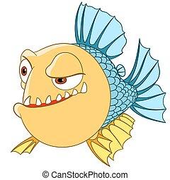 uncertain piranha - cute dangerous and lonely piranha is...