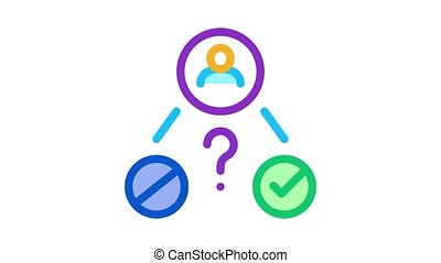 uncertain state of man Icon Animation. color uncertain state of man animated icon on white background