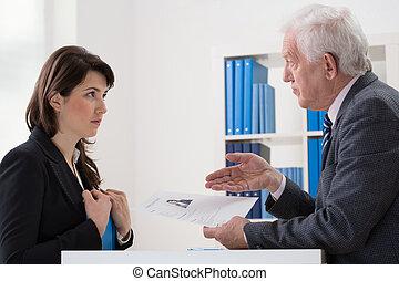 Uncertain woman - Young beautiful uncertain woman on job...