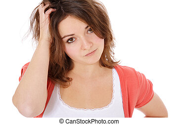 Uncertain young woman. All on white background.