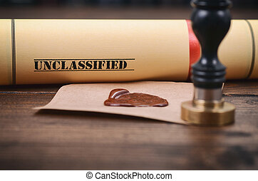 Unclassified document and notary seal on the wooden background.