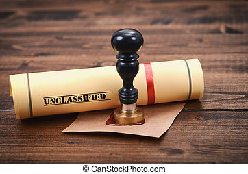 Unclassified document and notary seal on the wooden...