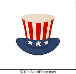 Uncle s Sam Hat Pattern Isolated on White Bakdrop