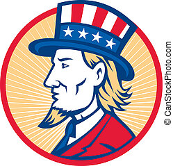 Uncle Sam American Side - Illustration of Uncle Sam wearing...