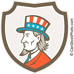 Uncle Sam American Side Shield Crest - Illustration of Uncle...