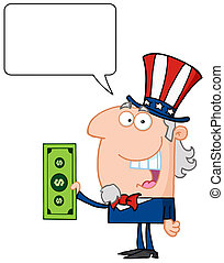 Uncle Sam And Speech Bubble - Uncle Sam With Holding A...