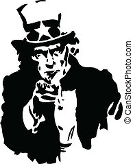 Uncle Sam Black and White - Vector illustration of classic...