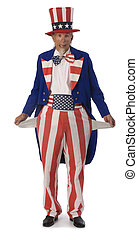 Uncle Sam Broke - Uncle Sam on a white background with his...