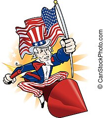 Uncle Sam carrying the flag while riding a rocket