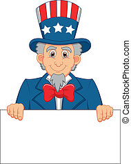 Uncle Sam cartoon and blank sign - Vector illustration of...