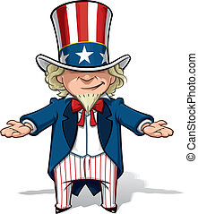 Clean-cut, overview cartoon illustration of Uncle Sam debating with his hands open