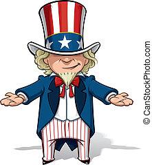 Uncle Sam Debating - Clean-cut, overview cartoon...