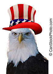 Eagle with Uncle Sam hat.