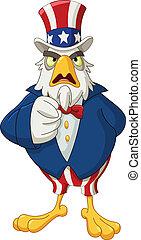 Uncle Sam eagle - American bald eagle dressed as Uncle Sam...