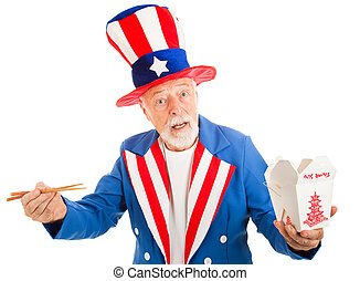 American icon Uncle Sam tries to figure out how to eat Chinese food with chopsticks. Isoalted on white.