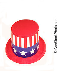 An uncle sam hat over white
