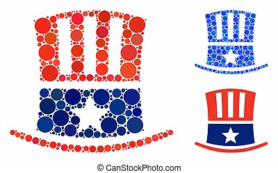 Uncle Sam hat Mosaic Icon of Round Dots