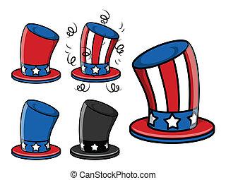 uncle sam hat set - 4th of july vector illustration