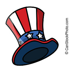 Uncle Sam Hat Vector - Drawing Art of Cartoon Uncle Sam...