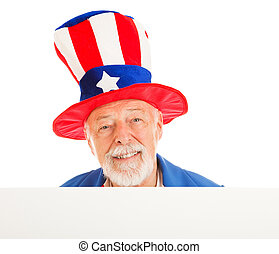 American icon Uncle Sam design element. Isolated head peering over white board.