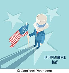 Uncle Sam Hold United States Flag Happy Independence Day American Holiday
