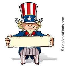 Clean-cut, overview cartoon illustration of Uncle Sam holding a sign.