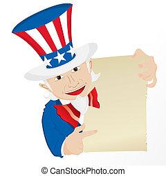 Uncle Sam Holding Sign. Editable Vector Illustration